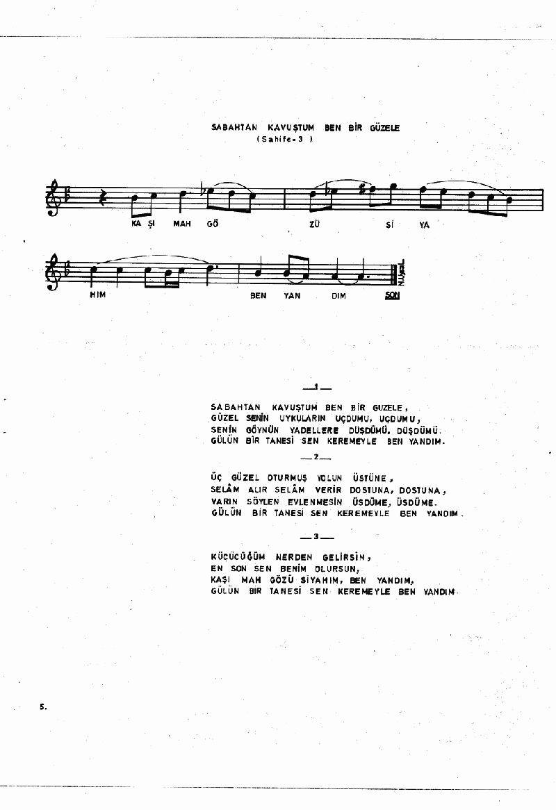 Aşağıdan Çıktı Bayrağın Ucu (barana Hvl.) Nota 5