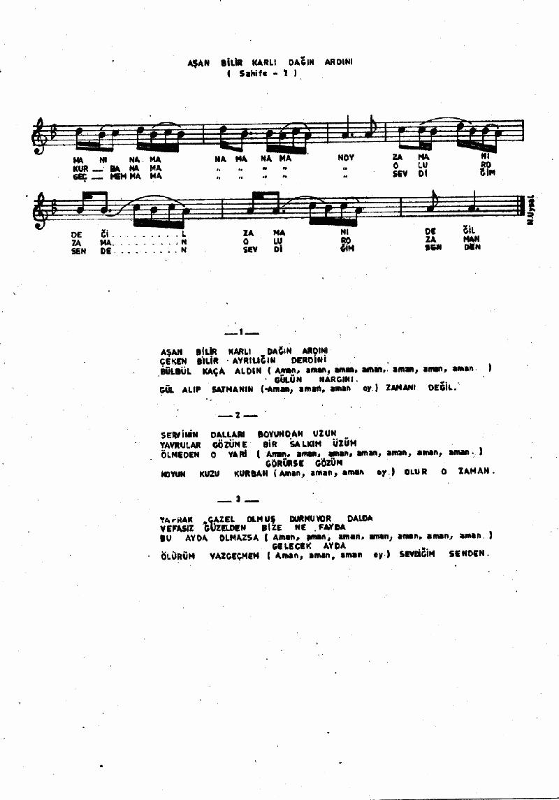 Aşan Bilir Karlı Dağın Ardını Nota 2