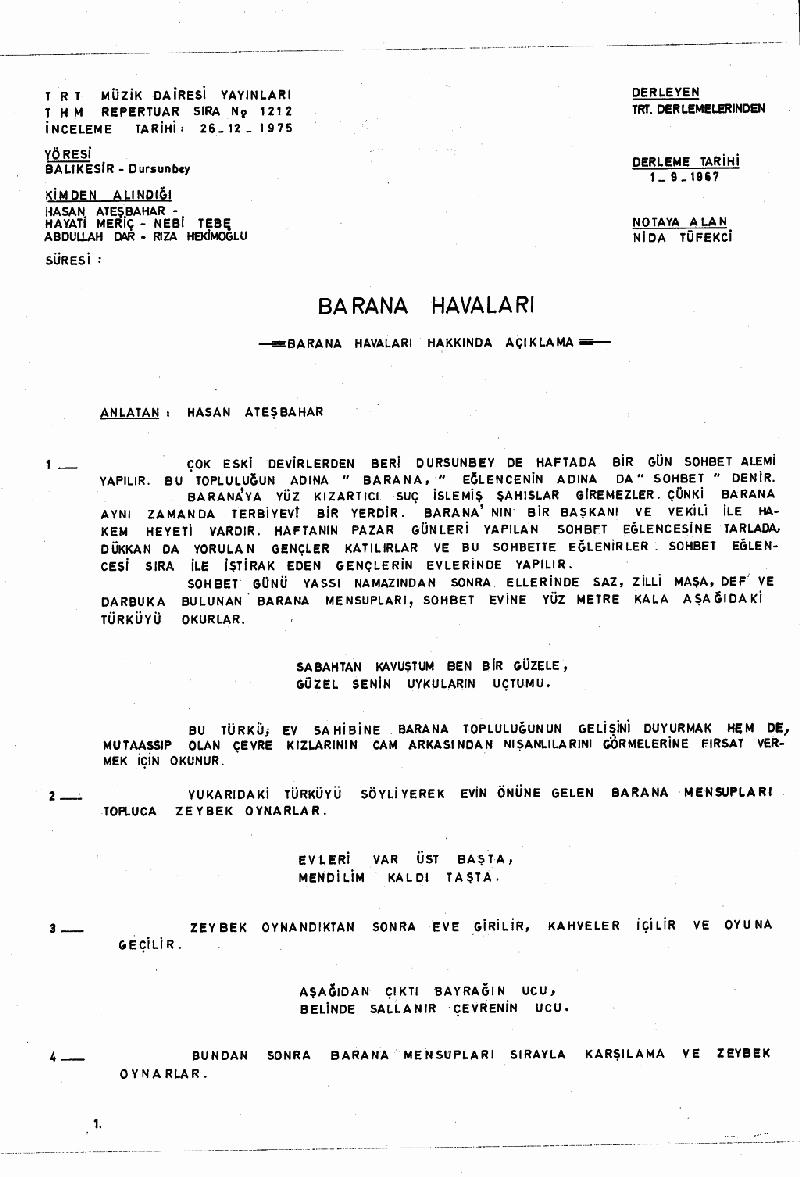 Aşşağı Mehle Hocası (barana Hvl.) Nota 1