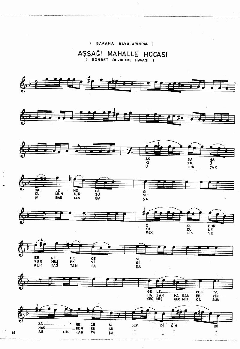 Aşşağı Mehle Hocası (barana Hvl.) Nota 19
