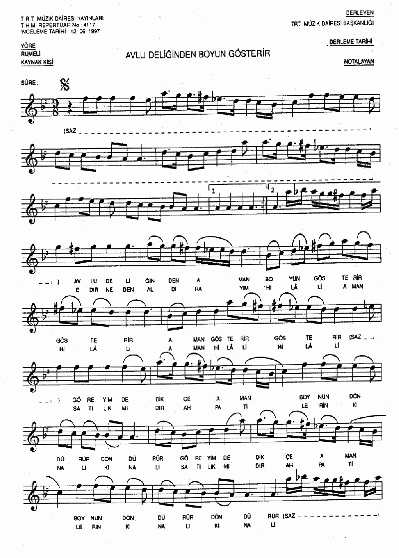 Avlu Deliğinden Boyun Gösterir Nota 1