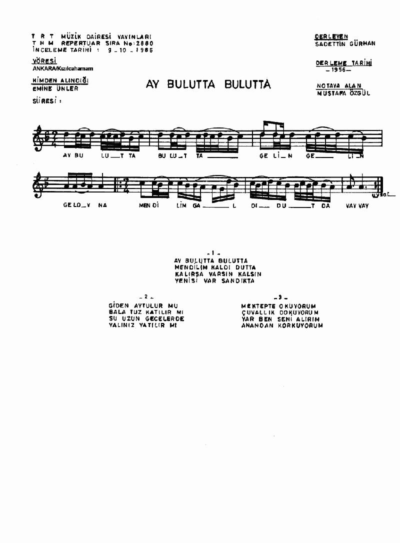Ay Bulutta Bulutta - 2 Nota 1
