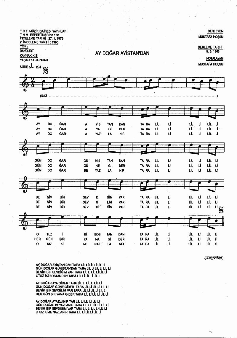 Ay Doğar Ayistan'dan Nota 1