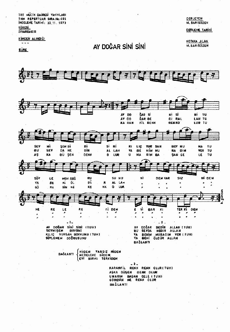 Ay Doğar Sini Sini - 1 Nota 1