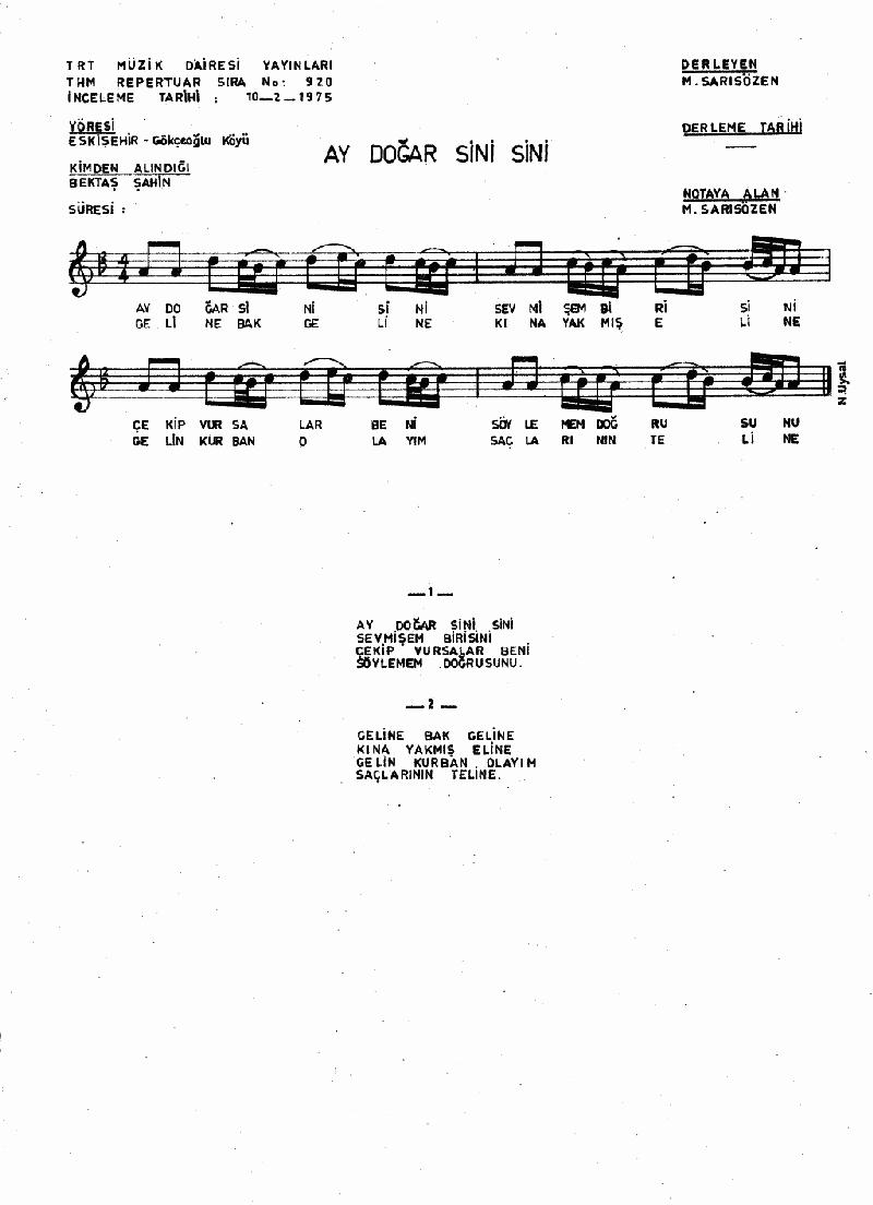 Ay Doğar Sini Sini - 2 Nota 1