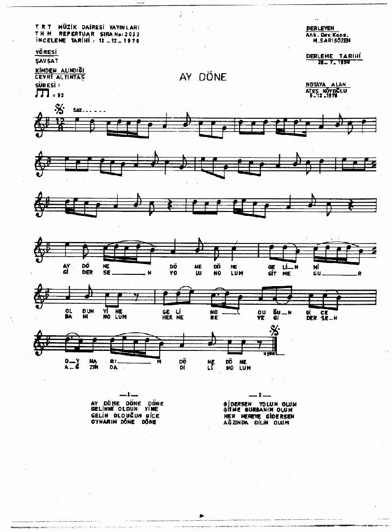 Ay Döne Döne Nota 1