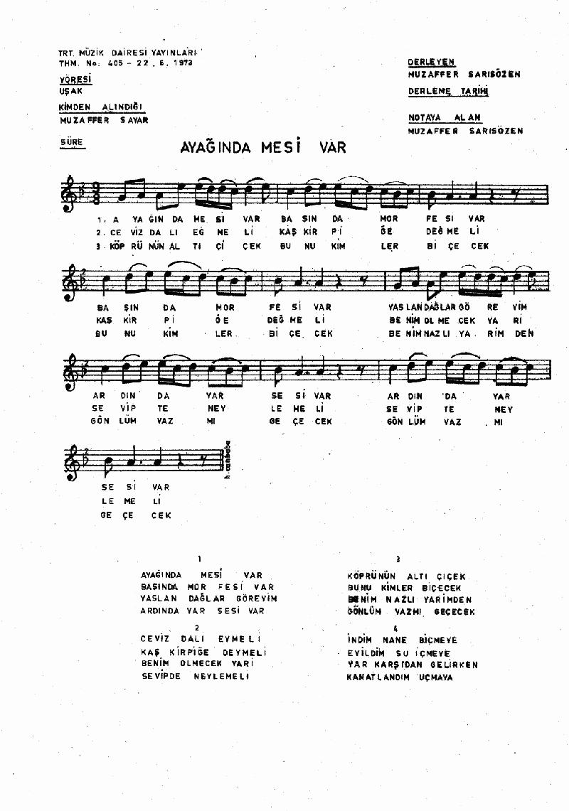 Ayağında Mesi Var Nota 1