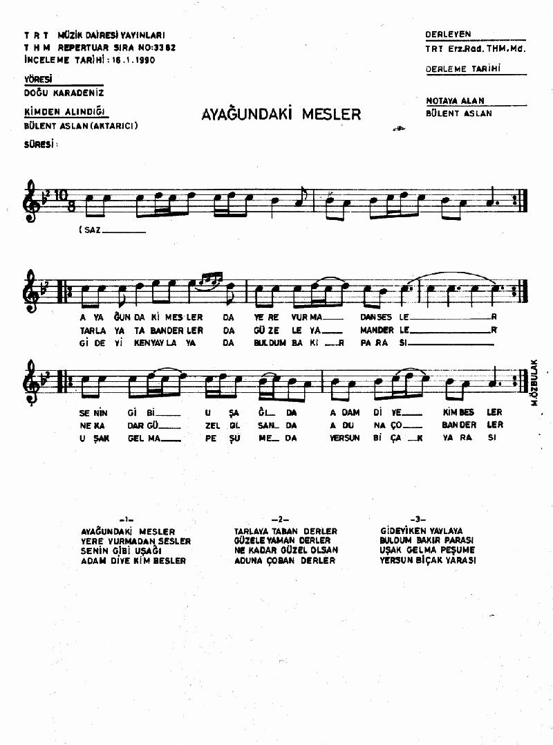 Ayağındaki Mesler Nota 1