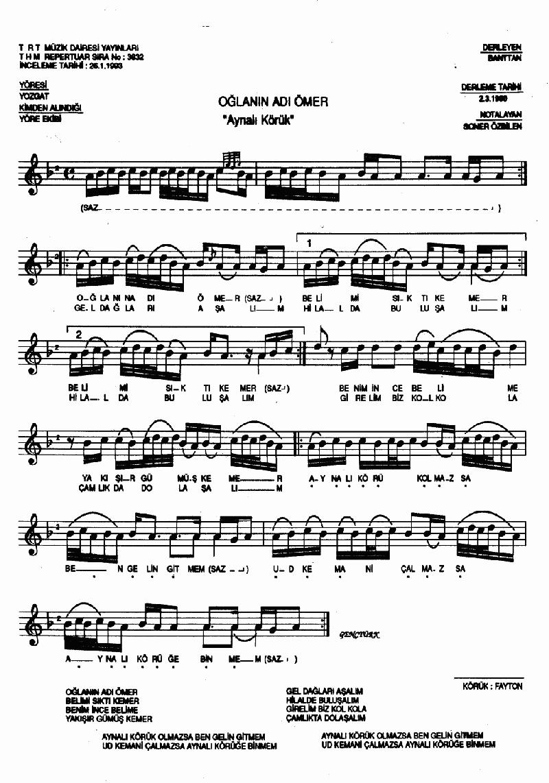 Aynalı Körük (oğlanın Adı Ömer) Nota 1