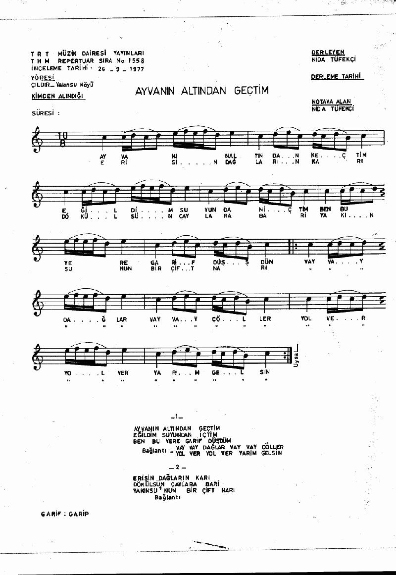 Ayvanın Altından Geçtim - 1 Nota 1