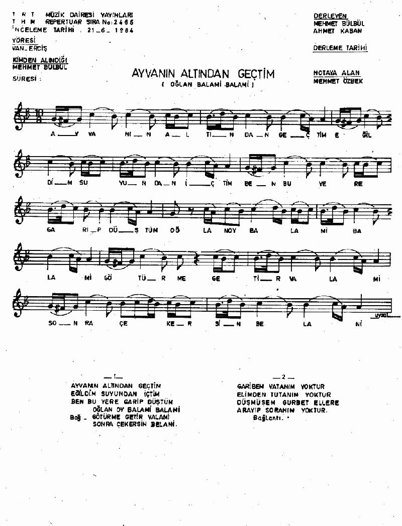 Ayvanın Altından Geçtim - 2 Nota 1