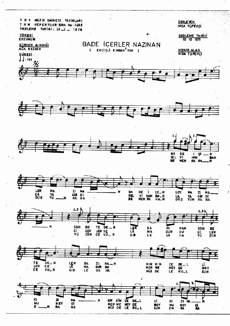 Bade İçerler Nazınan Nota 1