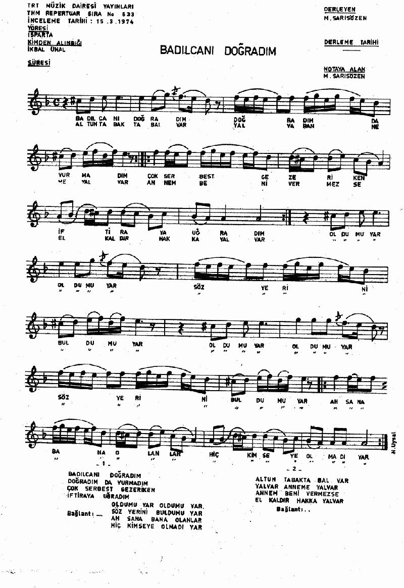 Badılcanı Doğradım Nota 1