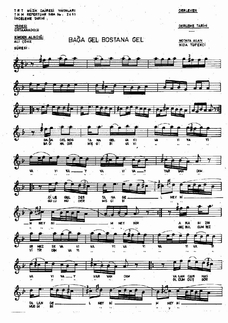 Bağa Gel Bostana Gel - 1 Nota 1