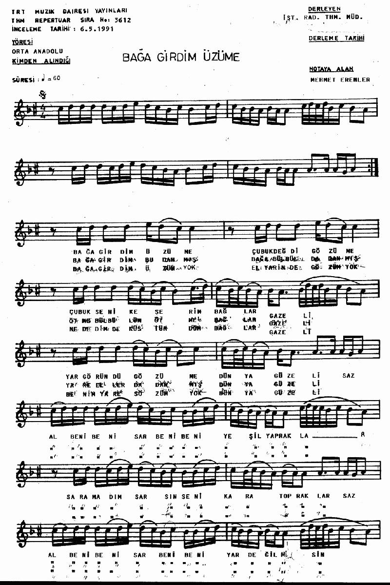 Bağa Girdim Üzüme - 1 Nota 1