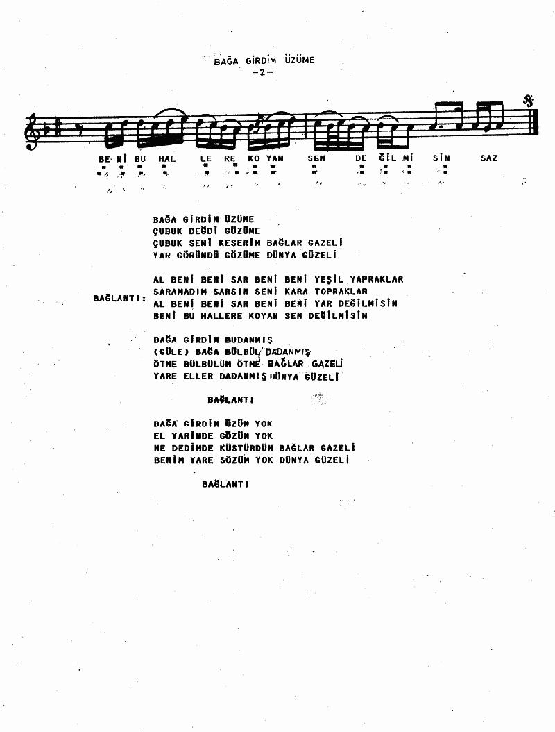 Bağa Girdim Üzüme - 1 Nota 2