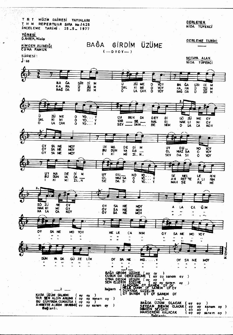 Bağa Girdim Üzüme - 2 Nota 1