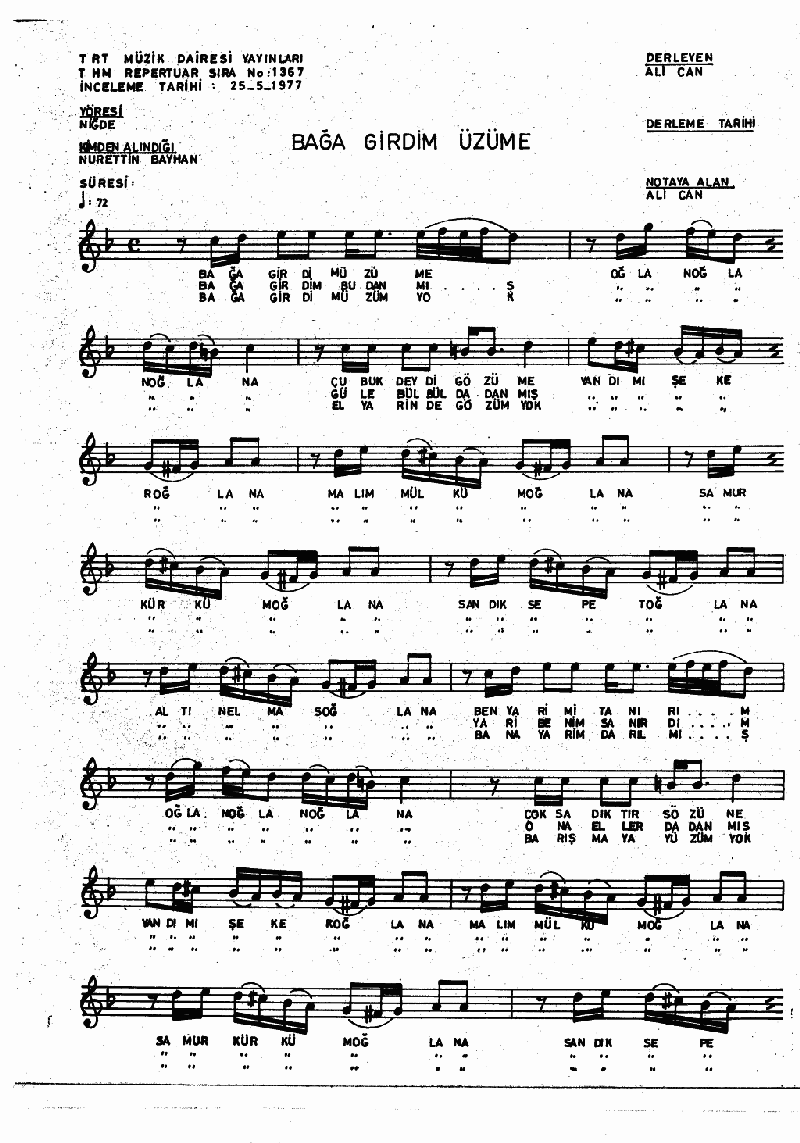 Bağa Girdim Üzüme - 3 Nota 1