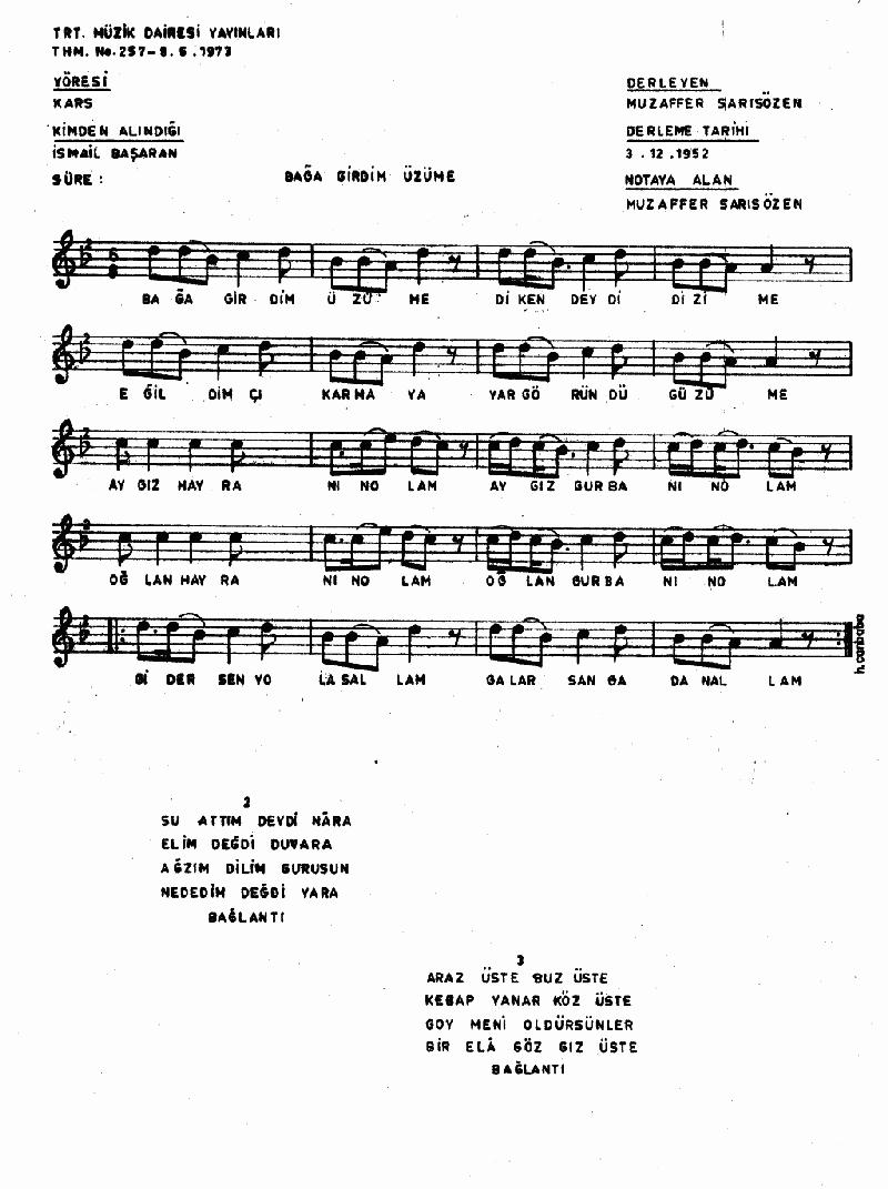 Bağa Girdim Üzüme - 4 Nota 1