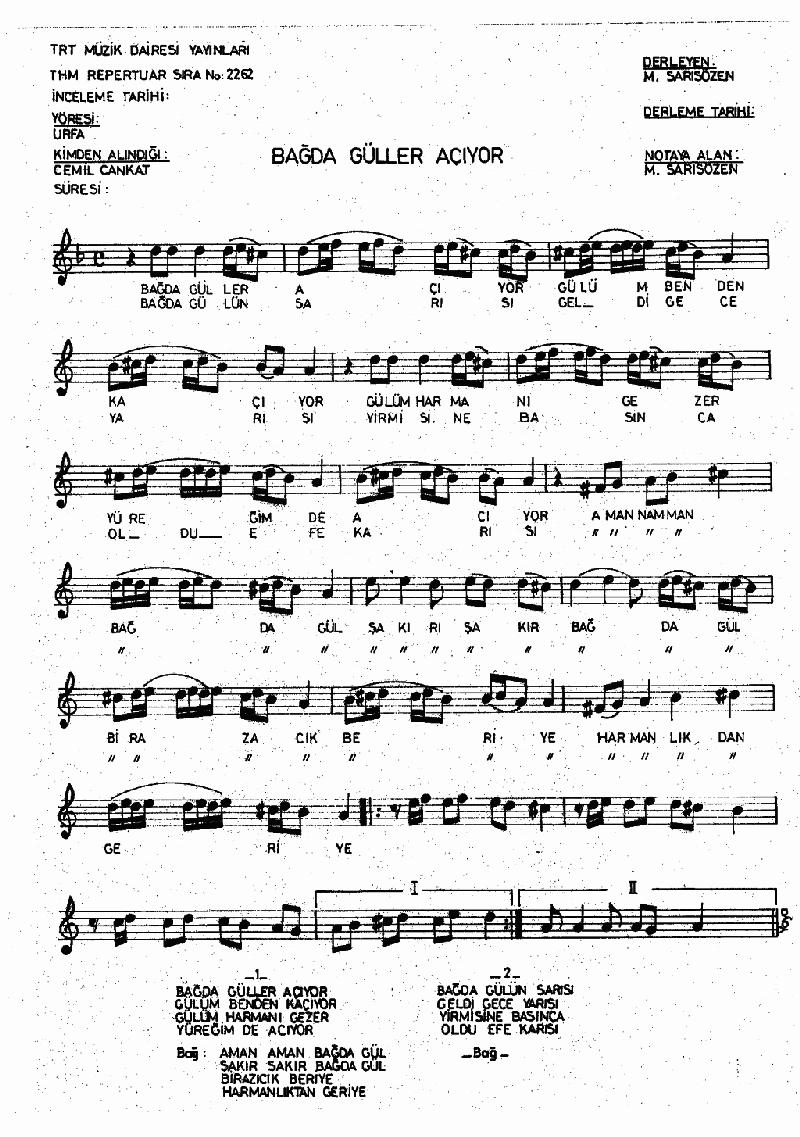 Bağda Güller Açıyor Nota 1