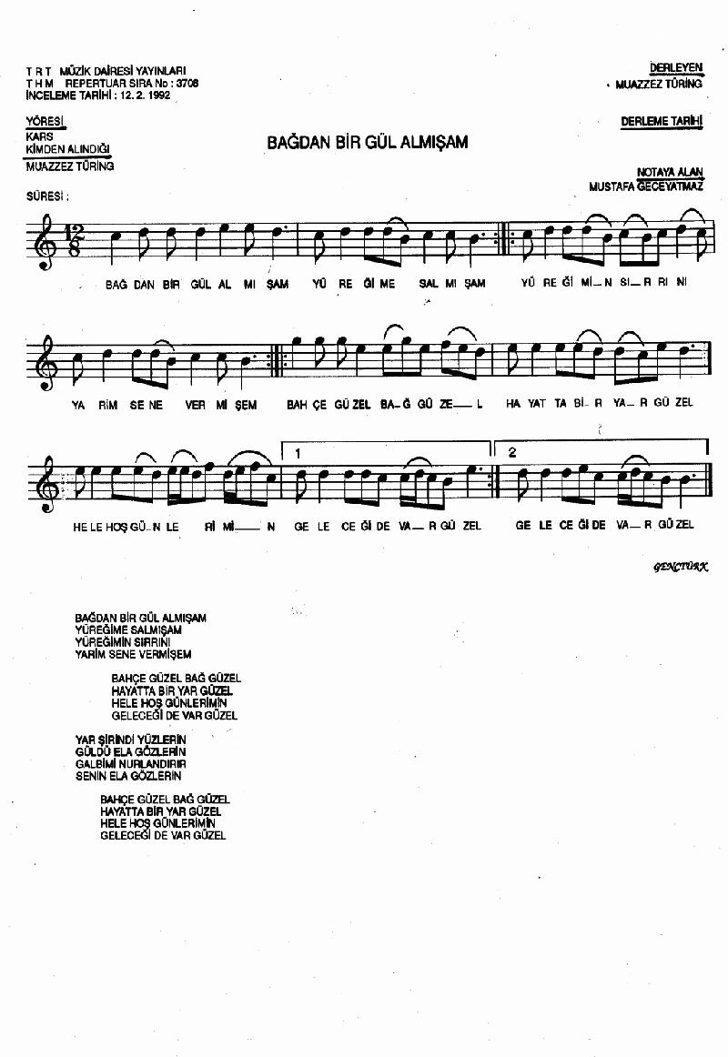 Bağdan Bir Gül Almışam Nota 1