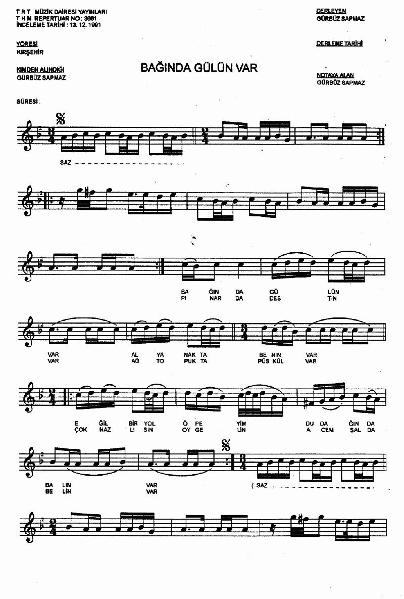 Bağında Gülün Var Nota 1