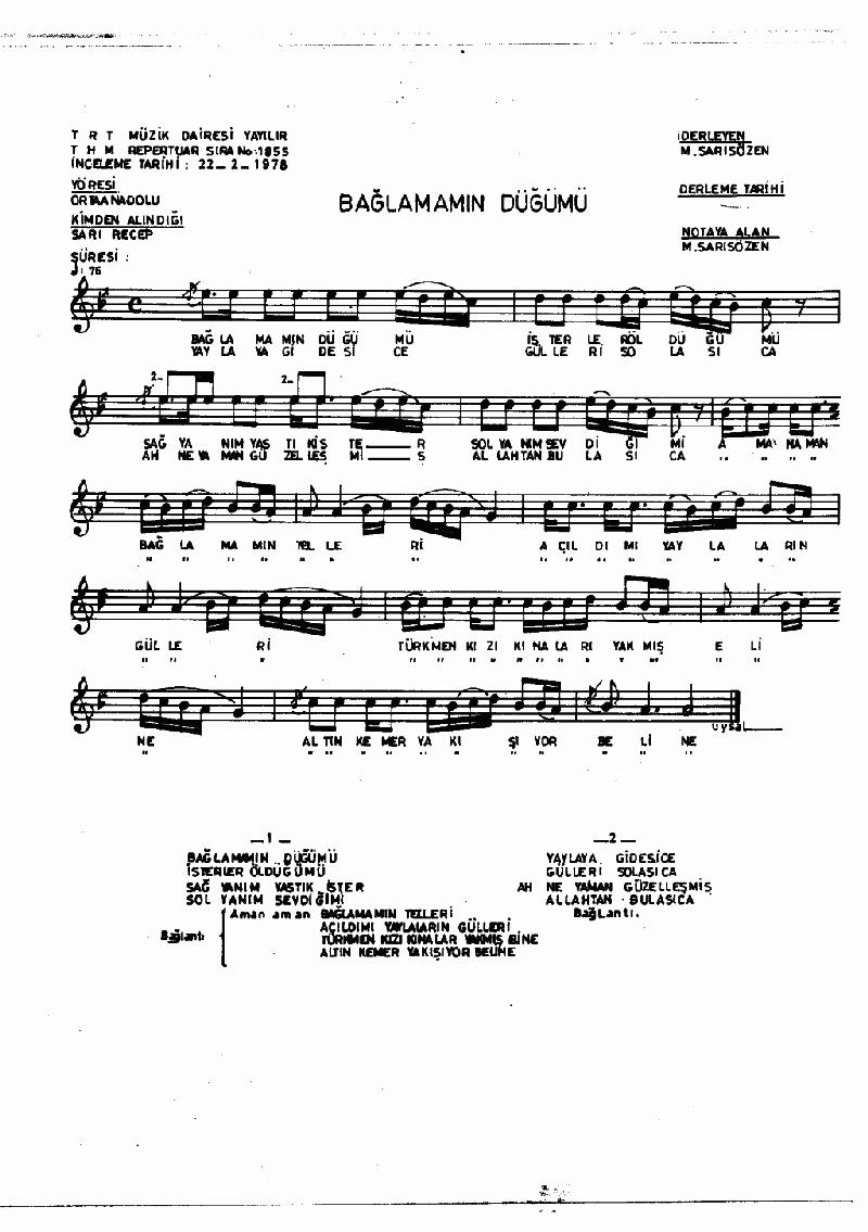Bağlamamın Düğümü Nota 1