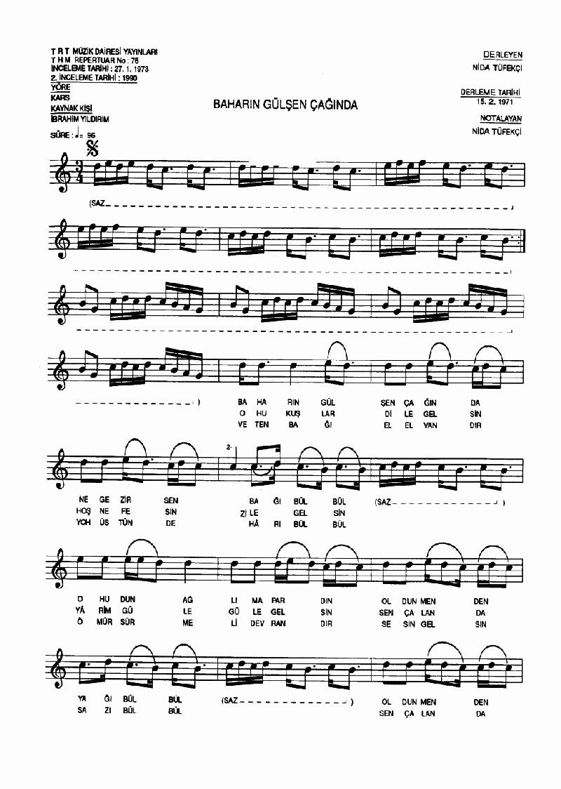 Baharın Gülşen Çağında (sarı Bülbül) Nota 1