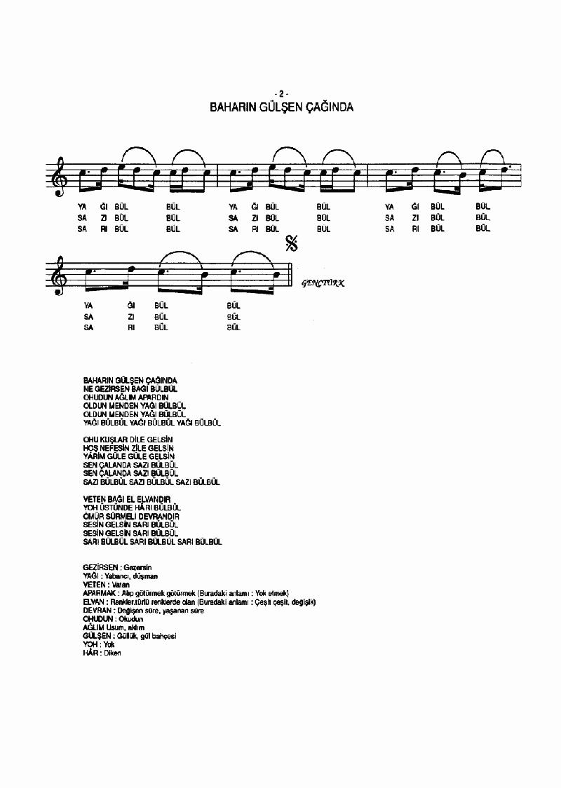 Baharın Gülşen Çağında (sarı Bülbül) Nota 2