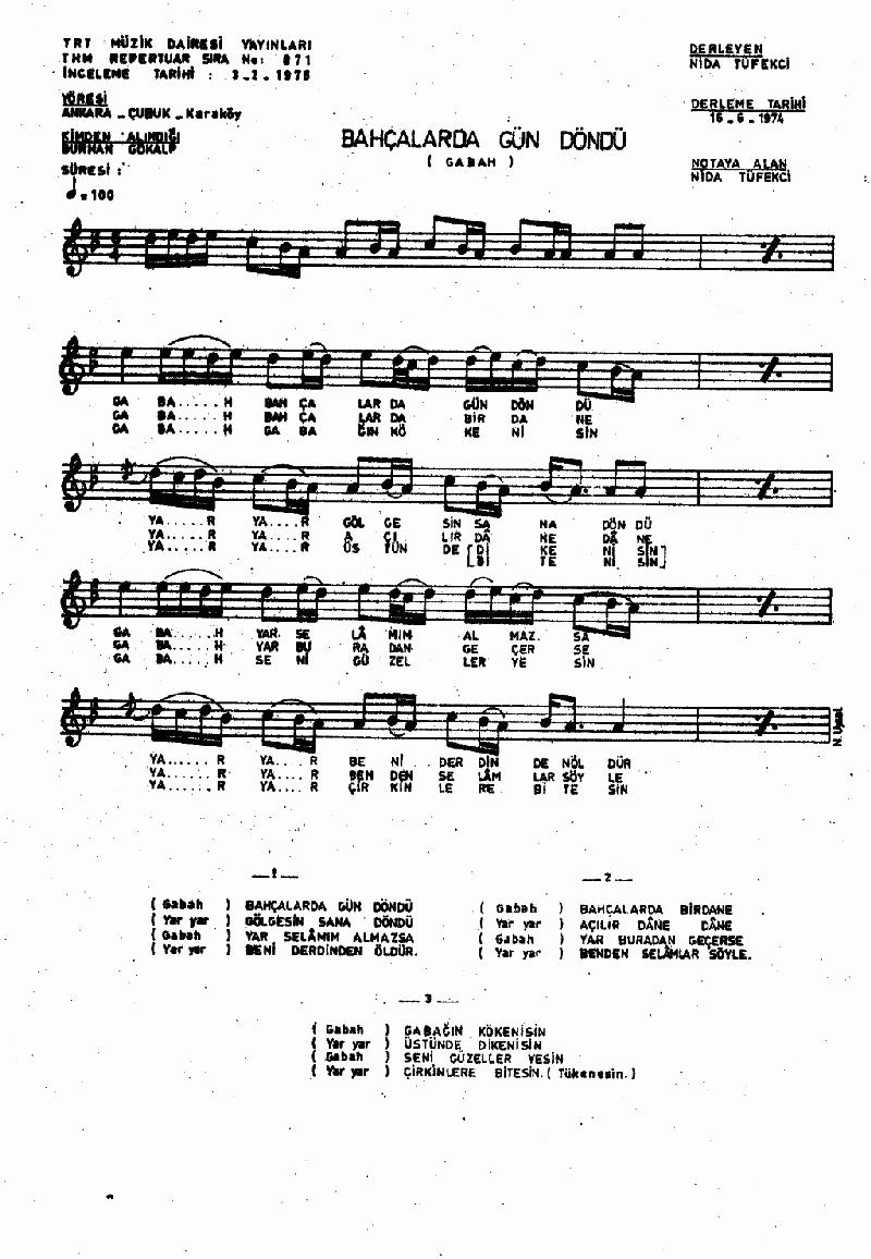 Bahçalarda Gün Döndü (gabah) Nota 1