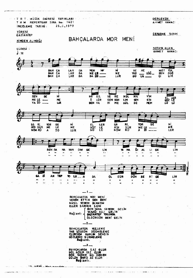 Bahçalarda Mor Meni - 1 Nota 1