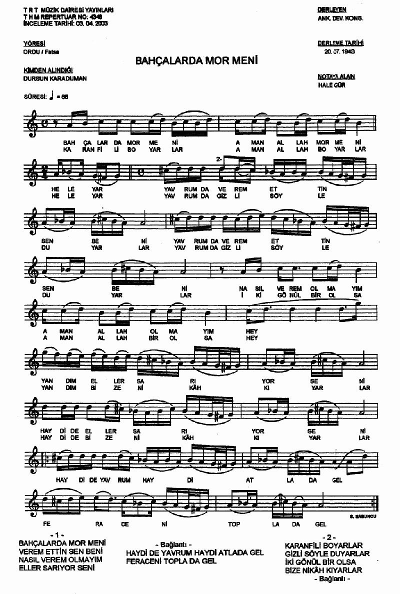 Bahçalarda Mor Meni - 2 Nota 1