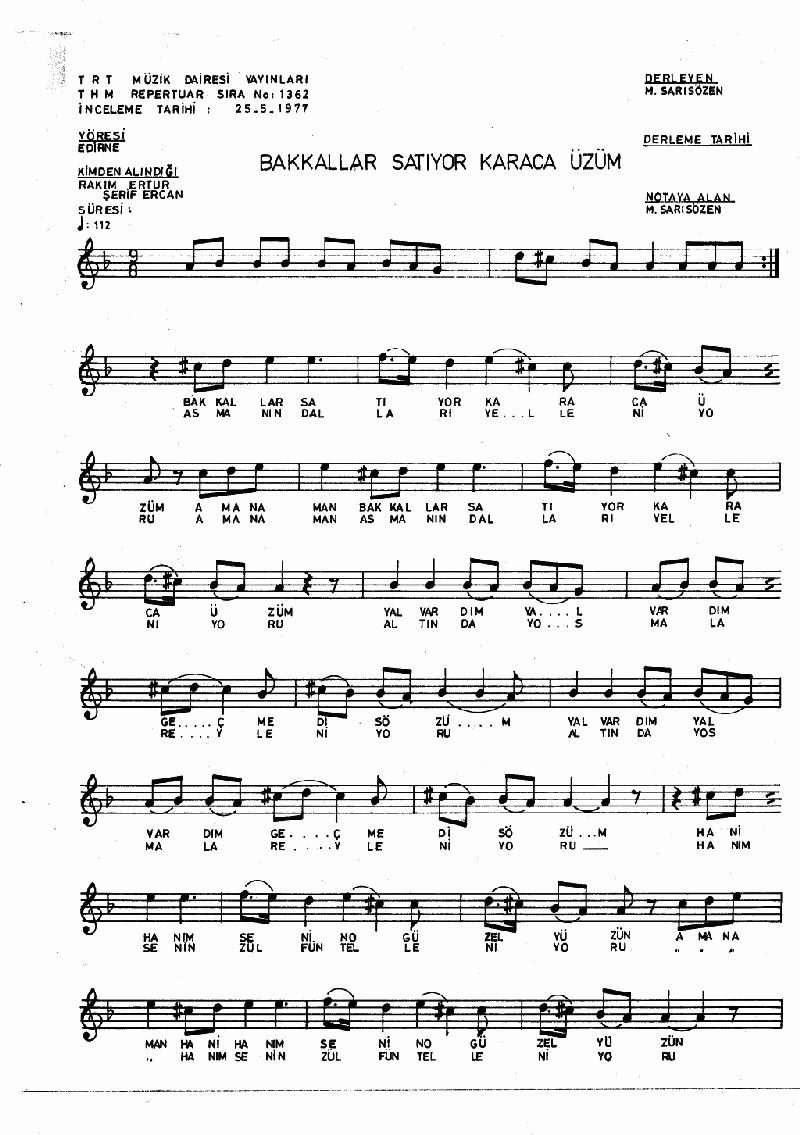 Bakkallar Satıyor Karaca Üzüm - 1 Nota 1