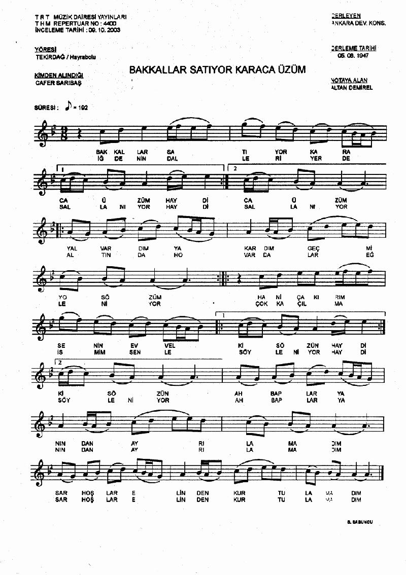 Bakkallar Satıyor Karaca Üzüm - 2 Nota 1