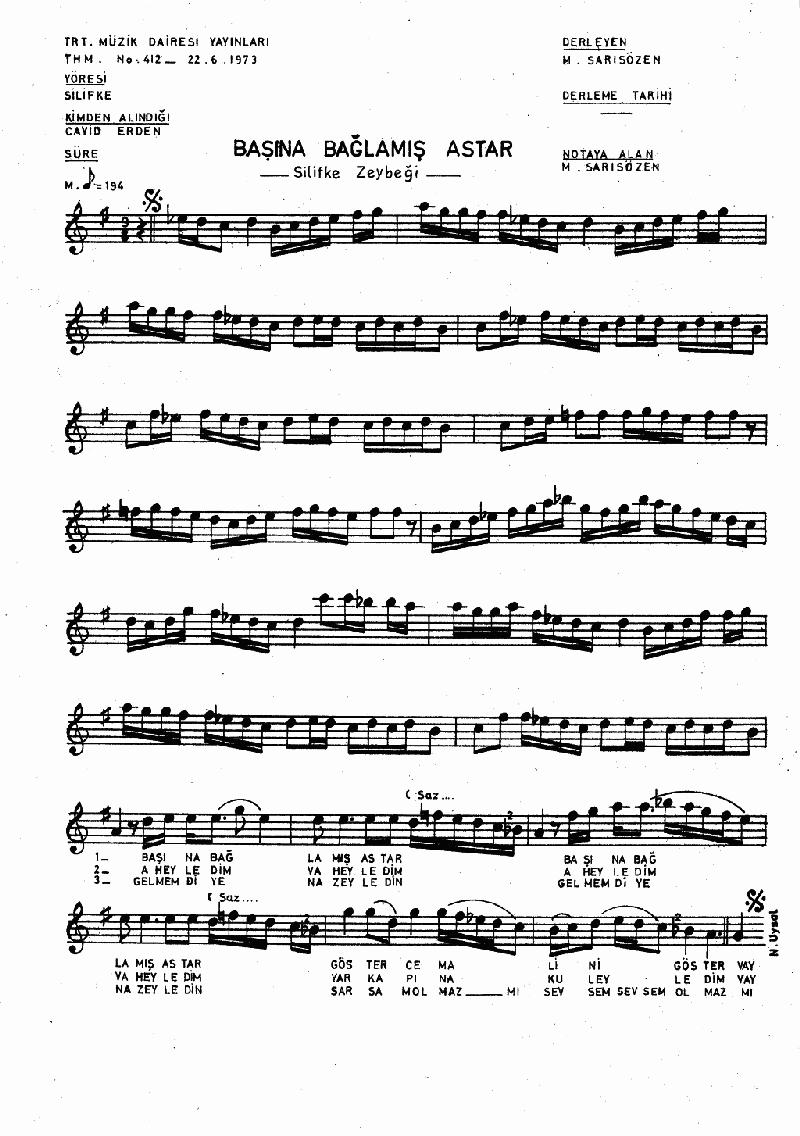 Başına Bağlamış Dastar Nota 1