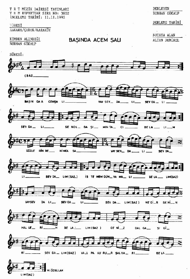 Başında Acem Şalı Nota 1