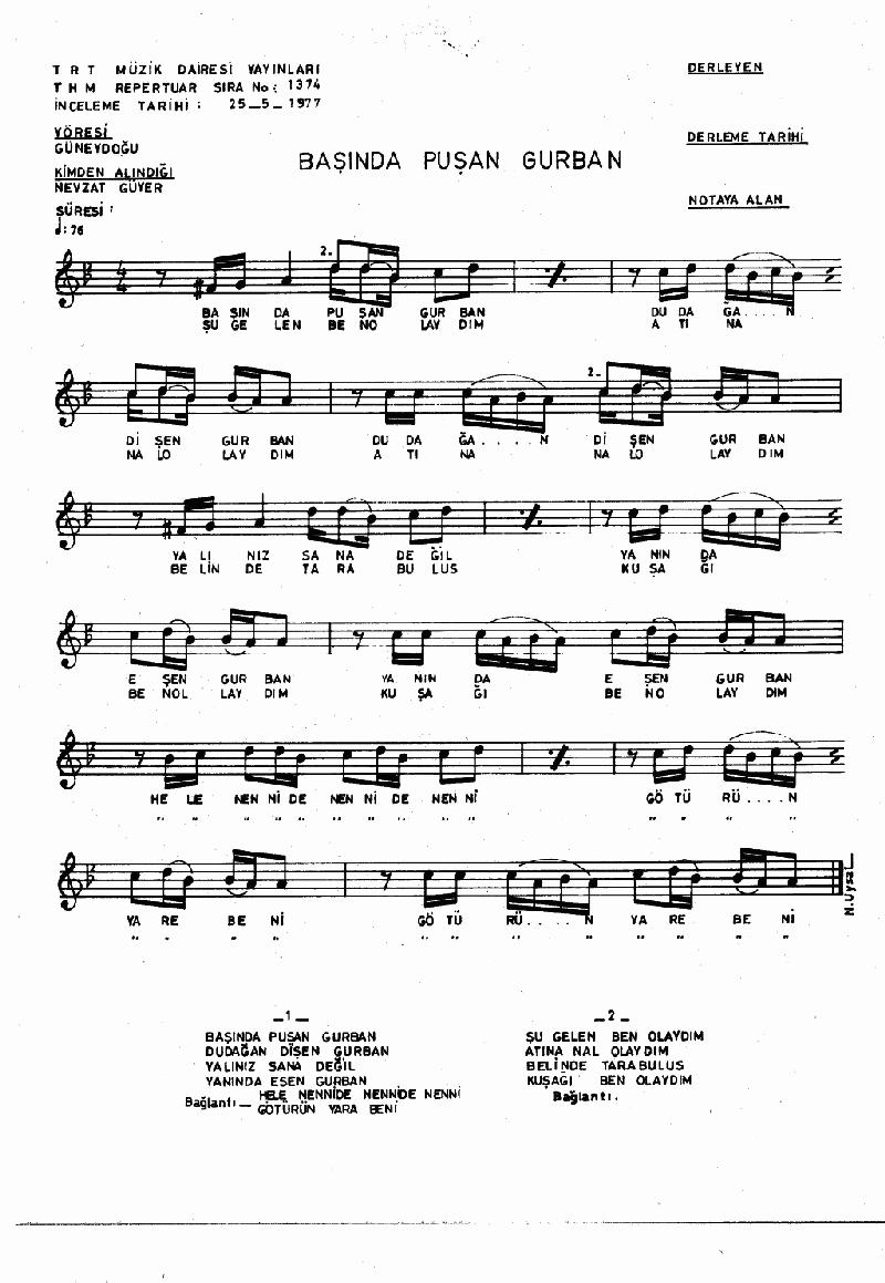 Başında Puşan Gurban Nota 1