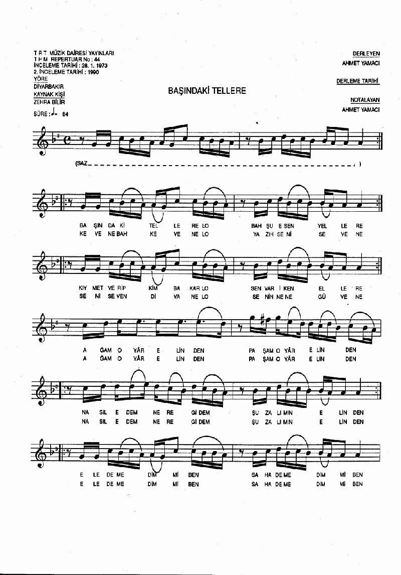 Başındaki Tellere Nota 1