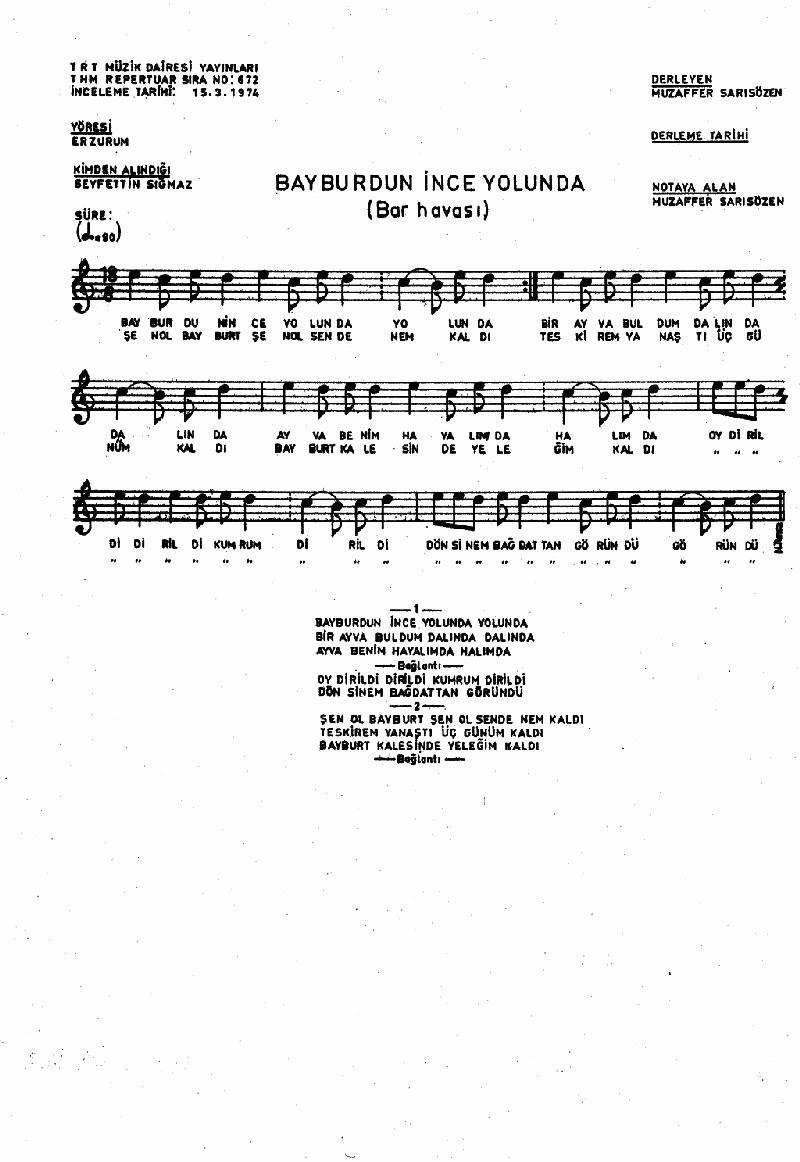 Bayburdun İnce Yolunda - 1 Nota 1