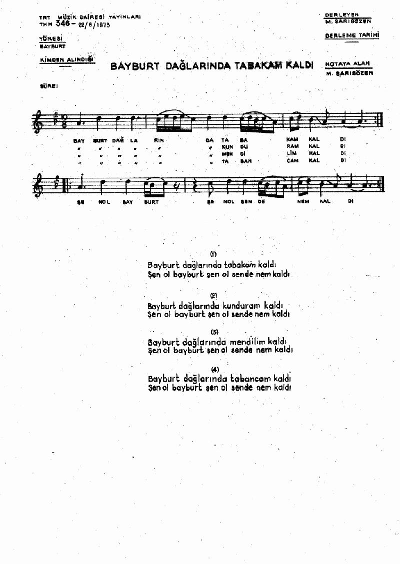 Bayburt Dağlarında Tabakam Kaldı Nota 1