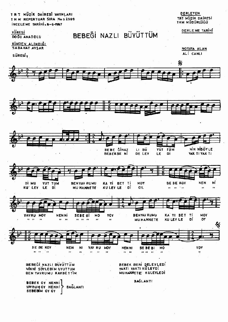 Bebeği Nazlı Büyüttüm Nota 1