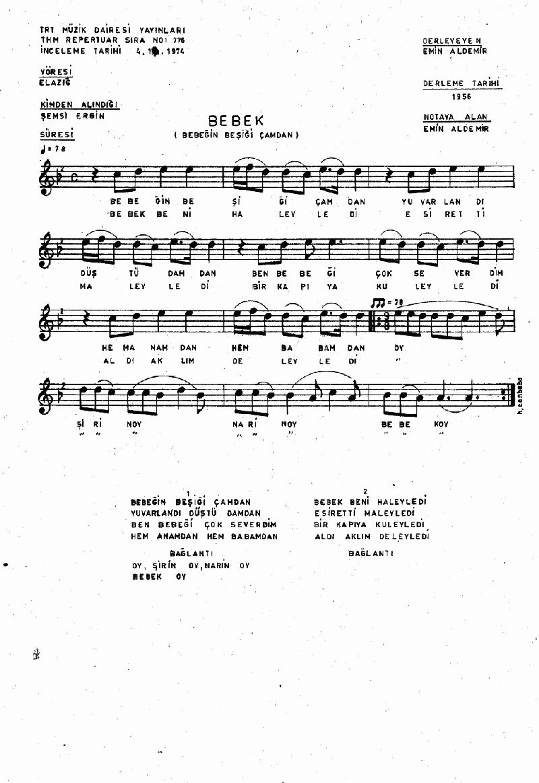 Bebeğin Beşiği Çamdan - 1 Nota 1