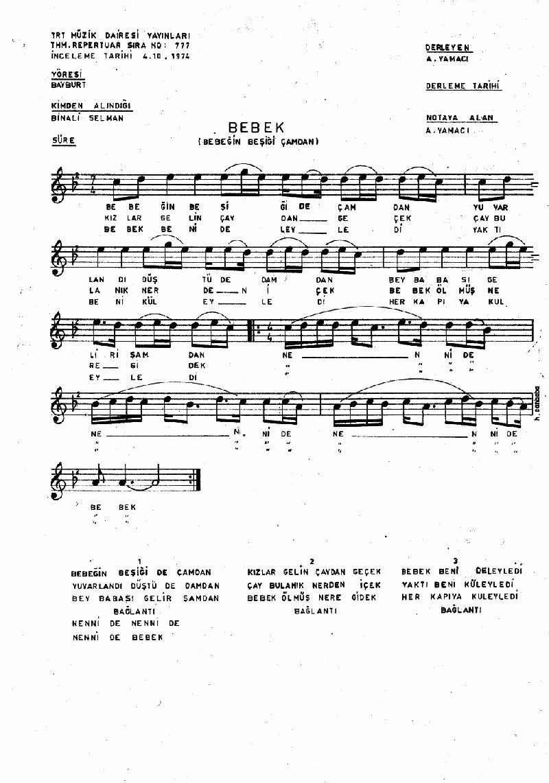 Bebeğin Beşiği Çamdan - 2 Nota 1