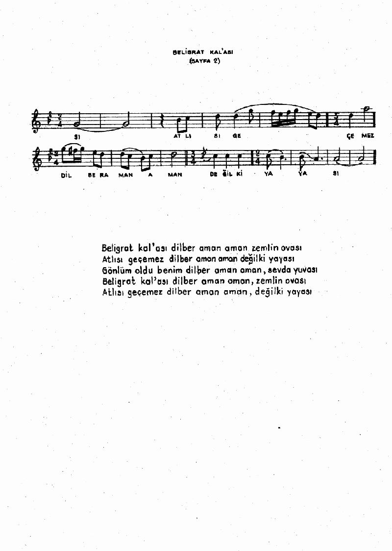 Belgrat Kal'ası Zemlin Ovası Nota 2