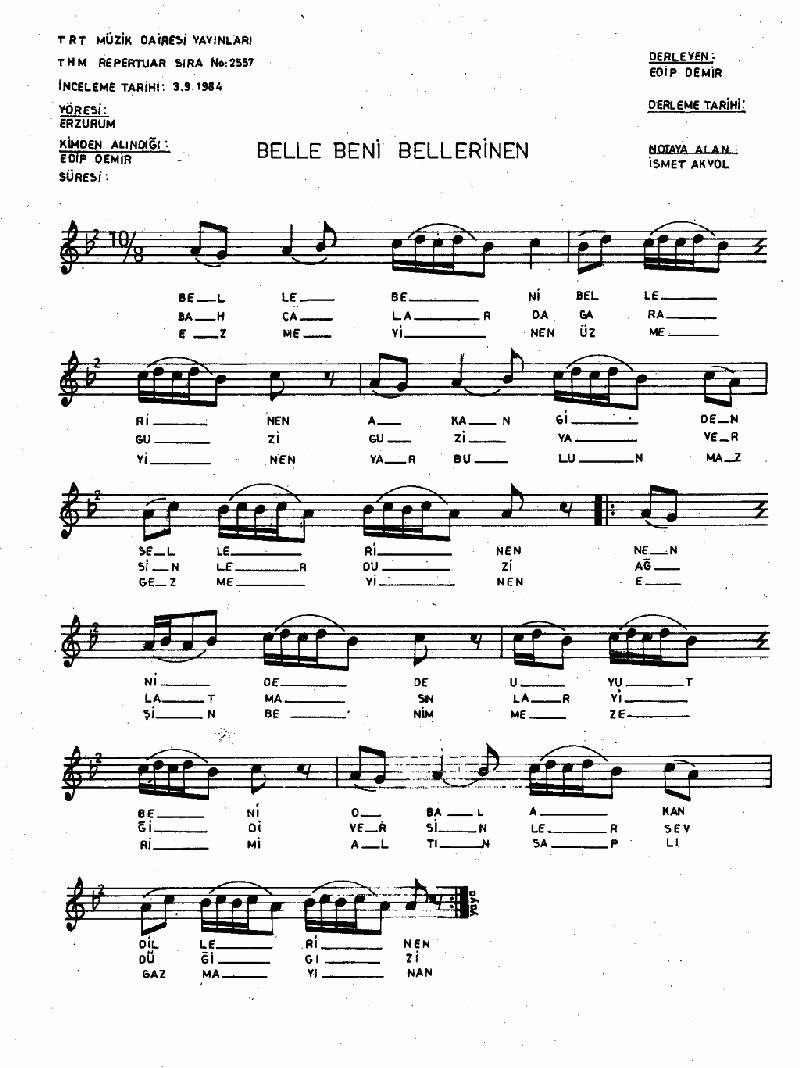 Belle Beni Bellerinen Nota 1