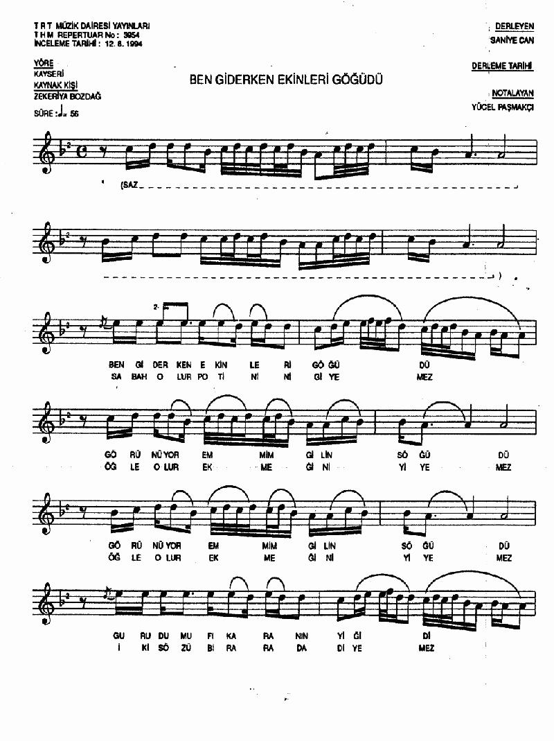 Ben Giderken Ekinleri Göğüdü Nota 1