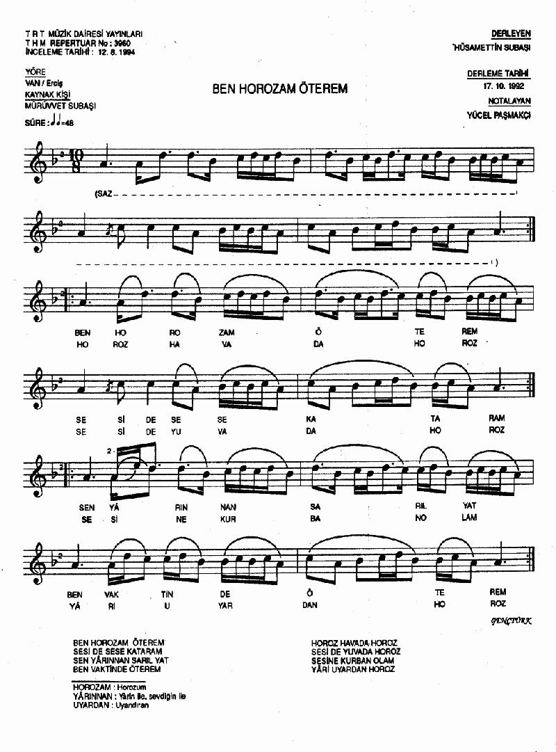 Ben Horozam Öterem - 2 Nota 1