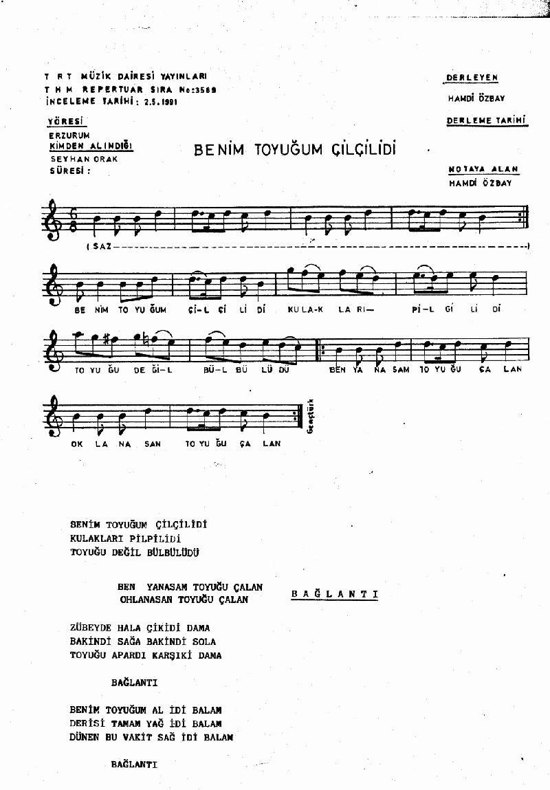 Benim Tavuğum Çilçilidir Nota 1