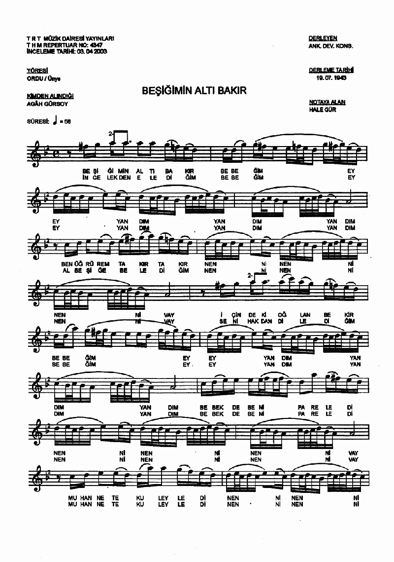 Beşiğimin Altı Bakır Nota 1