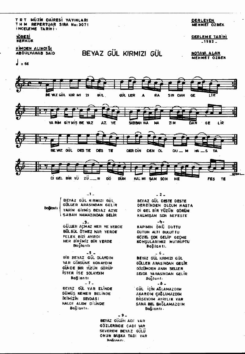 Beyaz Gül Kırmızı Gül Nota 1